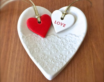 Handmade Porcelain Heart Lace Ring Dish with Love and Red Heart Gift Tag, Jewelry Dish, Ring Bowl