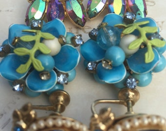 Vintage Clip on Earring Lot, Coro Earrings, Aurora Borealis, Blue Floral, vintage Costume jewelry, Estate Jewelry, 1960s