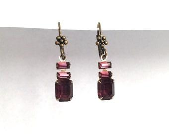 Vintage Repurposed Amethyst Purple Rhinestone Earrings