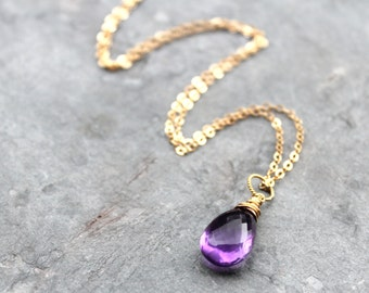 Amethyst Necklace 14k Gold Filled Purple Gemstone Necklace February Birthstone