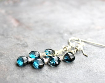 London Blue Topaz Earrings Sterling Silver December Birthstone Earrings, Dangling Briolette Earrings