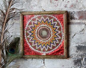 Vintage Indian Folk Art Hand Strung Beads Framed Indian Artwork Painted Foil Boho Art Global Decor Moroccan Interior Turkish Design