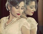"Birdcage Veil, 9""x 15"" or  5"" x 15""  Birdcage Bandeau Veil, Bridal Veil, Wedding Veil, Ivory, White, Champagne or Black"