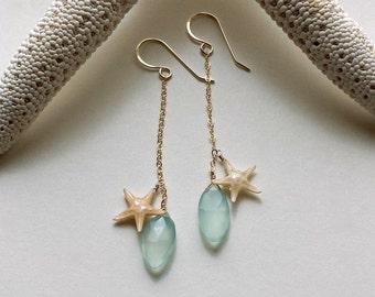 Long Aqua Dangle Earrings, Real Starfish Earrings, Starfish Dangle Earrings, Aqua Chalcedony Drops, Sea Star Earrings