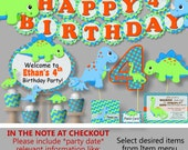 Dinosaur Party Decorations, Dinosaur Birthday Invitation - Party Supplies, Party Favor, Banner, Cake Topper, Cupcake, blue, green orange