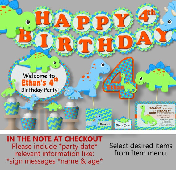 Dinosaur Birthday Party Decorations or Baby Shower Invitations