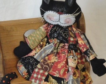 Fall Black Cat, fall cat cloth doll, hand made cat doll by Morning Mist Designs