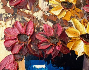 Vintage Impasto Flower Painting / Framed and Signed