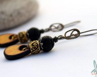 kaleidoscope yellow - Fun lightweight dangle earrings with art tiles, lava stone and handmade ear wires