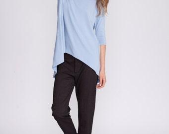 Asymmetrical women's top, light blue, women shirt, oversized tunic, loose fit, plus size, tunic, Dolman shirt, andy ve eirn, t shirt