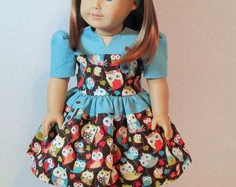 """1940s Era Fall Owl Tab Dress for 18"""" Dolls"""