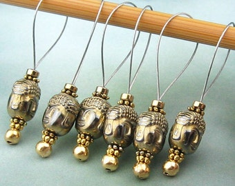 Stitch Markers, Knitting, Hematite Buddha, Semi-Precious Stones, Bright Gold, Snag Free, Knitting Tool, Knitting Accessory, Knitters Gift