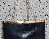 Vintage ETRA Navy leather cluch, Embossed leather clutch evening bag