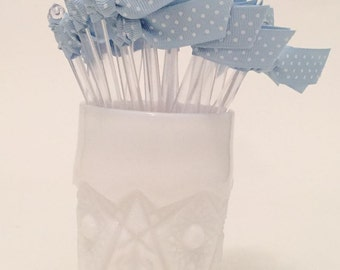 Light Blue with White Swiss Dot Grosgrain Ribbon Cocktail Stirrers - 25 count Clear stir sticks