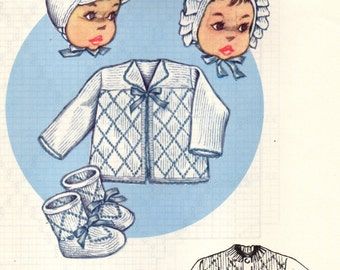 KNIT-O-GRAF No. 221  Cardigan, Sacque, Helmet, Bonnet, Bootees ORIGINAL Knitting Pattern Infants Set for Boys and Girls 1950s