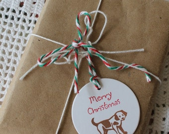 Christmas Puppy Gift Tags - Set of Eight hand stamped from hand carved stamp
