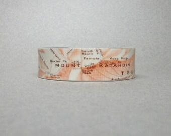 Mount Katahdin Maine Map Cuff Bracelet Unique Gift for Men or Women