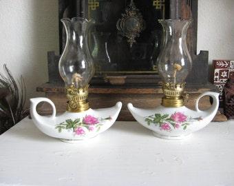 Two Aladdin Style Rose Motif Oil Lamps Kerosene Oil Lamps Boudoir