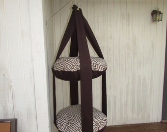 Cat Bed, Brown Greek Key,  Double Kitty Cloud, Hanging Cat Bed, Pet Furniture, Pet Gift, Cat Tree