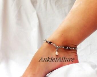 Southwestern Elegance Pearl Anklet Chain Anklet Fusion Copper Silver Ankle Bracelet