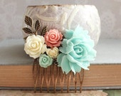 Aqua Rose Comb Floral Bridal Hair Comb Garden Wedding Hair Bridesmaids Gift Mint and Pink Floral Collage Vintage Style Shabby Country