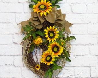 Sunflower Swag, Sunflower Decor, Teardrop Swag, Rustic Decor, Summer Wreath, Fall Wreath, Summer thru Fall Decor