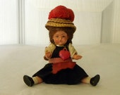 "Miniature 4"" Vintage Doll - 1950's Black Forest Doll - German Miniature Doll - Dolls House Doll"