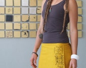 Reserved for Maureen - Yellow raw silk wrap skirt - hand painted tribal design
