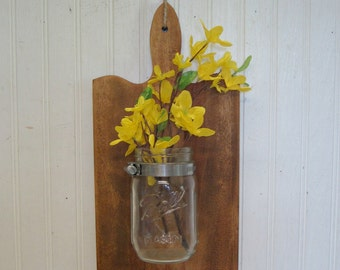 Rustic Wood Cutting Board Ball Mason Jar Wall Vase Kitchen Farmhouse Decor