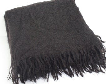 Vintage Mohair Blanket Soid Chocolate Brown Tailgate Stadium RV Glamping Camping Made In South Africa