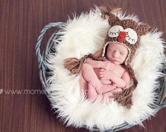 Baby Hat -Sleepy Owl Hat - Baby Owl Hat-  Photo Prop - Baby Owl Photo Prop Hat - Boy Sleepy Owl - Girl Sleepy Owl Hat - by JoJosBootique