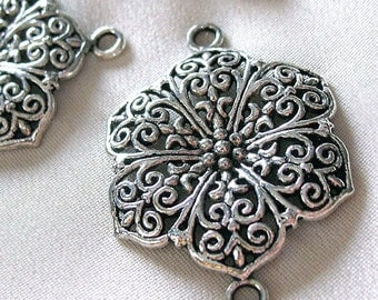 6 Large Antiqued Silver Flower Connector Links, 32mm, package of 6