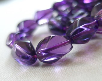 """Amethyst Twisted Oval Stone Beads, 12mm x 8mm, full strand, 15"""", 34 pieces, 1mm hole"""