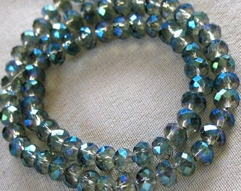 "144 pieces 4mm Lemon Gray crystal with blue and purple rainbow finish Faceted Crystal Rondell Beads, approx 18"" strand, 144 pieces"