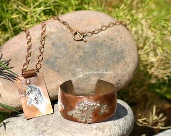 Copper Cuff Bracelet Artisian Design and Copper Necklace, Silver Jewelry Sets, Cuff Bracelet, Southwestern Jewelry, Jewelry, Vintage Jewelry