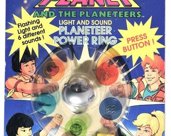 Vintage Captain Planet Planteers Power Ring Light and Sound 1991 TV Show Cartoon