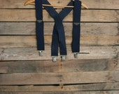 Vintage Navy Blue Suspenders with Silver Hardware