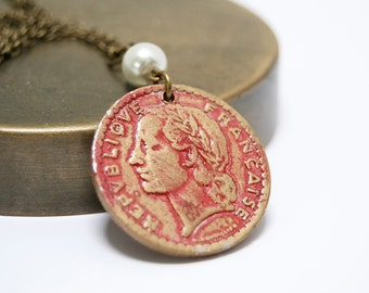 Coin Necklace, French Coin, Franc, Large Pendant, Coin Jewelry, Coin Pendant, Boho Chic Necklace, Gypsy Necklace, C2