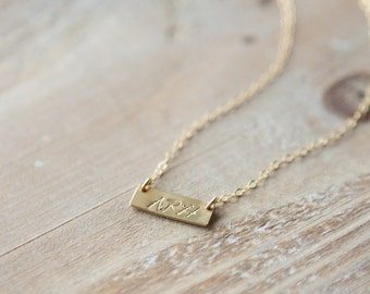 Gold Bar Initial Necklace - Monogram Necklace - Tiny Rectangle Hand Stamped Personalized Custom - Gold Filled - Mother's Day Gift