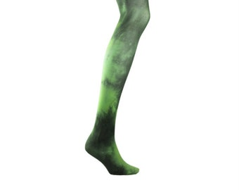 Hand Dyed Tights  - DARK GREEN   Unique and Colourful. Tie Dye, Dip dye, Acid wash. UK. Pantyhose.