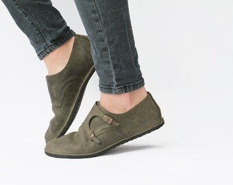 Monk Double Strap - Olive - Leather Women's Shoes - CUSTOM FIT