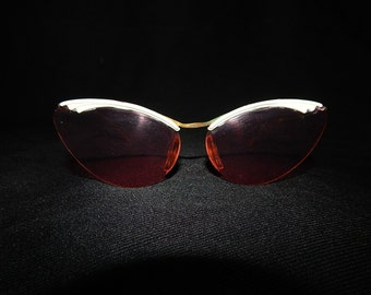 Vintage cat eye 50's clear pink sunglasses off white striped art deco rockabilly bombshell princess wedding pin up frames