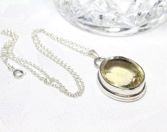 Oval Yellow Citrine Pendant in Sterling Silver 925 Faceted Pendant
