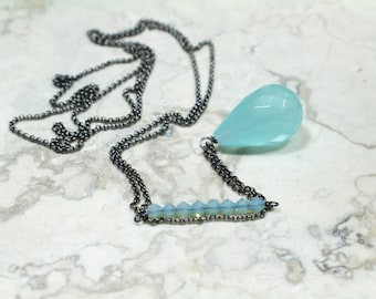 Long Pendant Necklace with a Faceted Aqua Stone Pendant and Swarovski Crystals