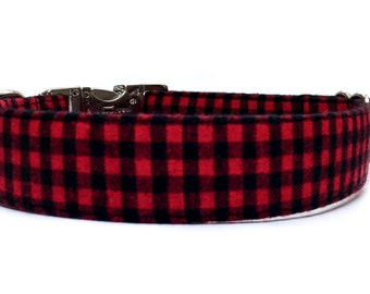 Buffalo Plaid Dog Collar /  Plaid Dog Collar / Red Plaid dog collar / Checked dog collar / Red Black Dog Collar / Red Dog Collar /