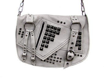 Summer Sale! 15% off - ROGUE - Gray and Gunmetal Punk Leather Shoulder Bag
