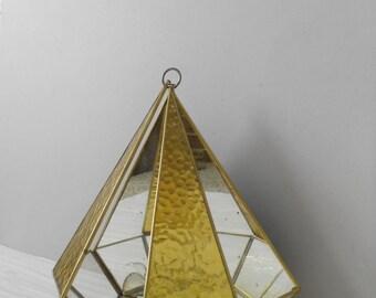 mid century large hanging geometric glass curio box / geometric / terrarium / display / 1970s