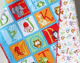 Gender Neutral Quilt, Baby Blanket, Nursery Crib Bedding, Cot Quilt, ABC 123, Number Letters Alphabet Animals Red Blue Green Blanket