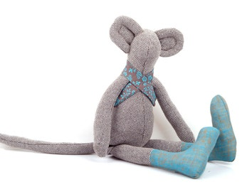 Winter cuddling doll-Stocking stuffer -Plush brown woven Mouse doll in gray teal floral scarf & Blue socks - eco timo handmade fabric doll