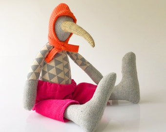 Modern stuffed wool bird doll - duck with long striped beak , gray Triangles linen shirt, hot pink corduroy orange hood hat ,handmade doll